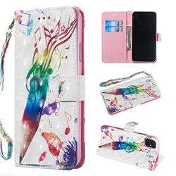 Music Pen 3D Painted Leather Wallet Phone Case for iPhone 11 Pro Max (6.5 inch)