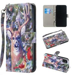 Elk Deer 3D Painted Leather Wallet Phone Case for iPhone 11 Pro Max (6.5 inch)