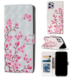 Butterfly Sakura Flower 3D Painted Leather Phone Wallet Case for iPhone 11 Pro Max (6.5 inch)
