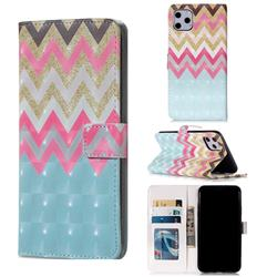 Color Wave 3D Painted Leather Phone Wallet Case for iPhone 11 Pro Max (6.5 inch)