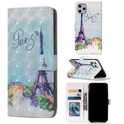 Paris Tower 3D Painted Leather Phone Wallet Case for iPhone 11 Pro Max (6.5 inch)