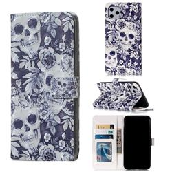 Skull Flower 3D Painted Leather Phone Wallet Case for iPhone 11 Pro Max (6.5 inch)