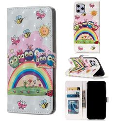 Rainbow Owl Family 3D Painted Leather Phone Wallet Case for iPhone 11 Pro Max (6.5 inch)