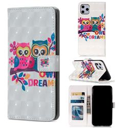 Couple Owl 3D Painted Leather Phone Wallet Case for iPhone 11 Pro Max (6.5 inch)