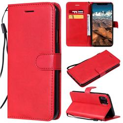 Retro Greek Classic Smooth PU Leather Wallet Phone Case for iPhone 11 Pro Max (6.5 inch) - Red