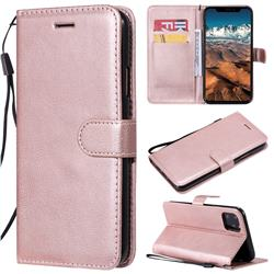 Retro Greek Classic Smooth PU Leather Wallet Phone Case for iPhone 11 Pro Max (6.5 inch) - Rose Gold