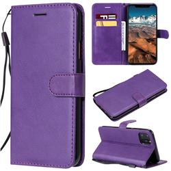 Retro Greek Classic Smooth PU Leather Wallet Phone Case for iPhone 11 Pro Max (6.5 inch) - Purple