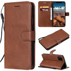 Retro Greek Classic Smooth PU Leather Wallet Phone Case for iPhone 11 Pro Max (6.5 inch) - Brown