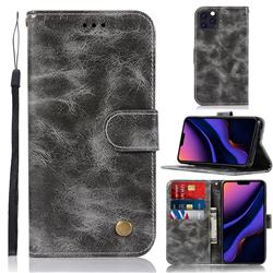Luxury Retro Leather Wallet Case for iPhone 11 Pro Max (6.5 inch) - Gray