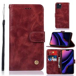 Luxury Retro Leather Wallet Case for iPhone 11 Pro Max (6.5 inch) - Wine Red