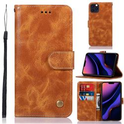 Luxury Retro Leather Wallet Case for iPhone 11 Pro Max (6.5 inch) - Golden