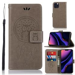 Intricate Embossing Owl Campanula Leather Wallet Case for iPhone 11 Pro Max (6.5 inch) - Grey