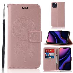 Intricate Embossing Owl Campanula Leather Wallet Case for iPhone 11 Pro Max (6.5 inch) - Rose Gold