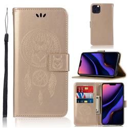 Intricate Embossing Owl Campanula Leather Wallet Case for iPhone 11 Pro Max (6.5 inch) - Champagne