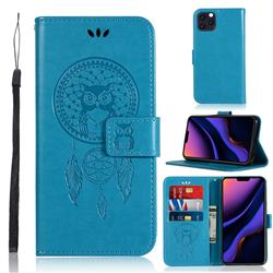 Intricate Embossing Owl Campanula Leather Wallet Case for iPhone 11 Pro Max (6.5 inch) - Blue