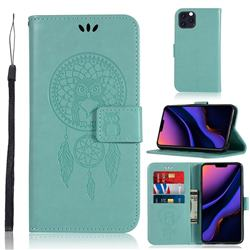 Intricate Embossing Owl Campanula Leather Wallet Case for iPhone 11 Pro Max (6.5 inch) - Green