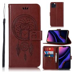 Intricate Embossing Owl Campanula Leather Wallet Case for iPhone 11 Pro Max (6.5 inch) - Brown