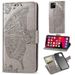 Embossing Mandala Flower Butterfly Leather Wallet Case for iPhone 11 Pro Max (6.5 inch) - Gray