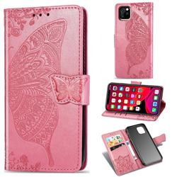Embossing Mandala Flower Butterfly Leather Wallet Case for iPhone 11 Pro Max (6.5 inch) - Pink
