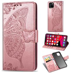 Embossing Mandala Flower Butterfly Leather Wallet Case for iPhone 11 Pro Max (6.5 inch) - Rose Gold