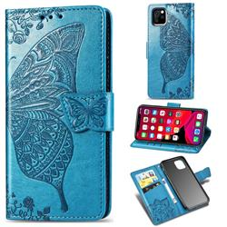 Embossing Mandala Flower Butterfly Leather Wallet Case for iPhone 11 Pro Max (6.5 inch) - Blue