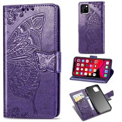 Embossing Mandala Flower Butterfly Leather Wallet Case for iPhone 11 Pro Max (6.5 inch) - Dark Purple