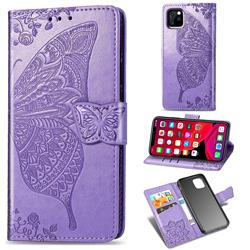 Embossing Mandala Flower Butterfly Leather Wallet Case for iPhone 11 Pro Max (6.5 inch) - Light Purple