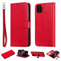 Retro Greek Detachable Magnetic PU Leather Wallet Phone Case for iPhone 11 Pro Max (6.5 inch) - Red