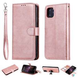 Retro Greek Detachable Magnetic PU Leather Wallet Phone Case for iPhone 11 Pro Max (6.5 inch) - Rose Gold