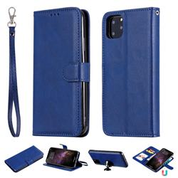 Retro Greek Detachable Magnetic PU Leather Wallet Phone Case for iPhone 11 Pro Max (6.5 inch) - Blue