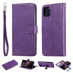 Retro Greek Detachable Magnetic PU Leather Wallet Phone Case for iPhone 11 Pro Max (6.5 inch) - Purple