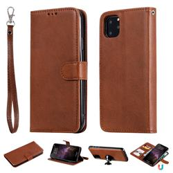 Retro Greek Detachable Magnetic PU Leather Wallet Phone Case for iPhone 11 Pro Max (6.5 inch) - Brown