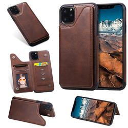 Luxury Multifunction Magnetic Card Slots Stand Calf Leather Phone Back Cover for iPhone 11 Pro Max (6.5 inch) - Coffee