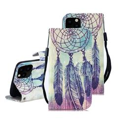 Feather Wind Chimes 3D Painted Leather Wallet Phone Case for iPhone 11 Pro Max (6.5 inch)