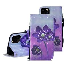 Purple Flower 3D Painted Leather Wallet Phone Case for iPhone 11 Pro Max (6.5 inch)