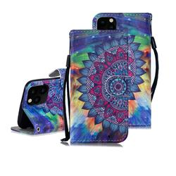 Oil Painting Mandala 3D Painted Leather Wallet Phone Case for iPhone 11 Pro Max (6.5 inch)