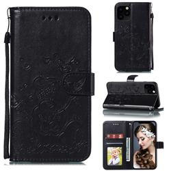 Embossing Butterfly Heart Bear Leather Wallet Case for iPhone 11 Pro Max (6.5 inch) - Black