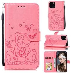 Embossing Butterfly Heart Bear Leather Wallet Case for iPhone 11 Pro Max (6.5 inch) - Pink