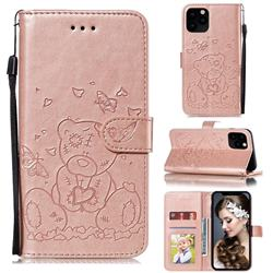 Embossing Butterfly Heart Bear Leather Wallet Case for iPhone 11 Pro Max (6.5 inch) - Rose Gold