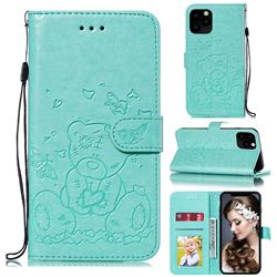 Embossing Butterfly Heart Bear Leather Wallet Case for iPhone 11 Pro Max (6.5 inch) - Green