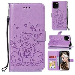 Embossing Butterfly Heart Bear Leather Wallet Case for iPhone 11 Pro Max (6.5 inch) - Purple