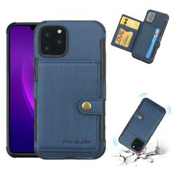 Brush Multi-function Leather Phone Case for iPhone 11 Pro Max (6.5 inch) - Blue
