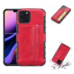 Luxury Shatter-resistant Leather Coated Card Phone Case for iPhone 11 Pro Max (6.5 inch) - Red