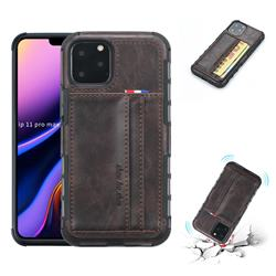 Luxury Shatter-resistant Leather Coated Card Phone Case for iPhone 11 Pro Max (6.5 inch) - Coffee
