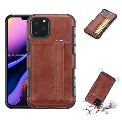 Luxury Shatter-resistant Leather Coated Card Phone Case for iPhone 11 Pro Max (6.5 inch) - Brown