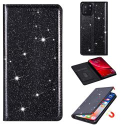 Ultra Slim Glitter Powder Magnetic Automatic Suction Leather Wallet Case for iPhone 11 Pro Max (6.5 inch) - Black