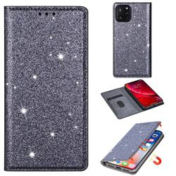 Ultra Slim Glitter Powder Magnetic Automatic Suction Leather Wallet Case for iPhone 11 Pro Max (6.5 inch) - Gray