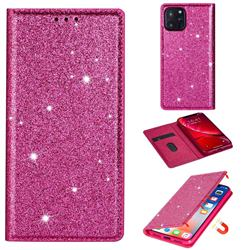 Ultra Slim Glitter Powder Magnetic Automatic Suction Leather Wallet Case for iPhone 11 Pro Max (6.5 inch) - Rose Red