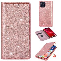 Ultra Slim Glitter Powder Magnetic Automatic Suction Leather Wallet Case for iPhone 11 Pro Max (6.5 inch) - Rose Gold