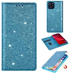 Ultra Slim Glitter Powder Magnetic Automatic Suction Leather Wallet Case for iPhone 11 Pro Max (6.5 inch) - Blue